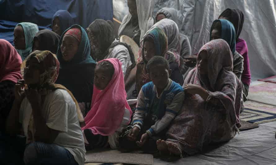 Members of the Eritrean community at a Sunday service in the migrant church in Calais