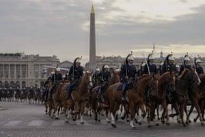 Republican Guards rehearse for a parade on Place de la Concorde in Paris, France