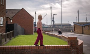A boy plays on the streets of the Headlands area of Hartlepool