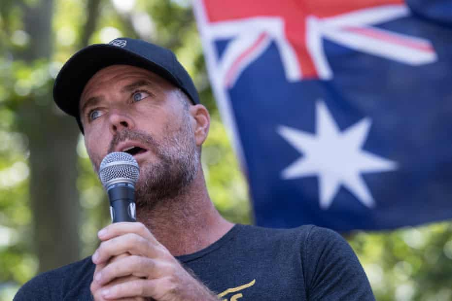 Pete Evans is seen at an anti-vaccination rally at Hyde Park on February 20, 2021 in Sydney, Australia.