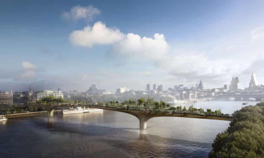 'Layers of murk': an artist's impression of the Thames garden bridge.
