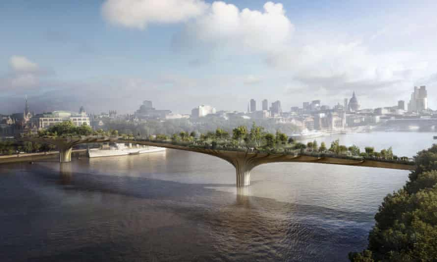 The Garden Bridge (designer's image). The £175m bridge will host private corporate events and be shut overnight to walkers.
