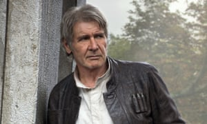 Harrison Ford on set during the filming of Star Wars: The Force Awakens.