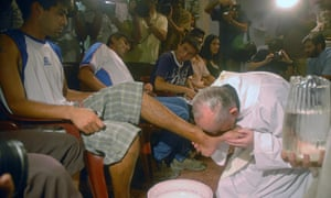 Francis (then still Cardinal Bergoglio) washing drug addicts' feet in Buenos Aires in 2008