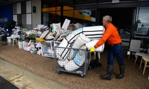 Flood damaged goods outside the Pillowtalk store in the Townsville suburb of Idalia.