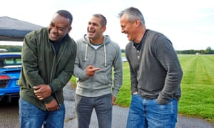 Rory Reid, Chris Harris and Matt LeBlanc share a laugh during a break from filming the new series of Top Gear.