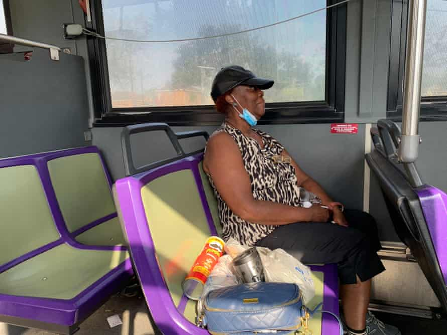 Inez McKenzie, a 65 year-old ninth ward resident, avoids the sweltering heat on a cooling bus.