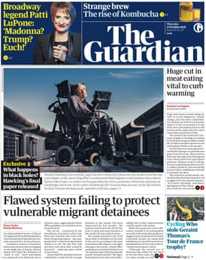 Guardian front page, Thursday 11 October 2018