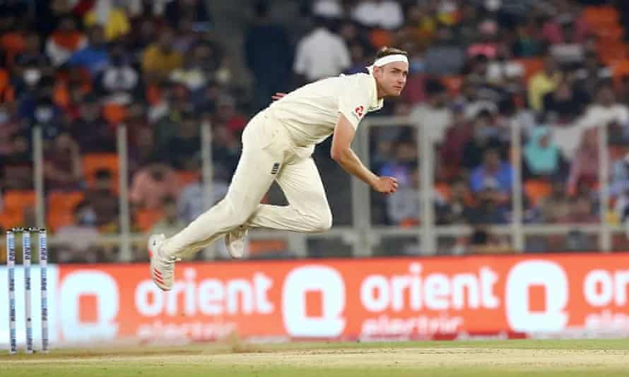 Stuart Broad in action against India