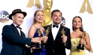 Mark Rylance, Brie Larson, Leonardo DiCaprio, Alicia Vikander, Oscars.