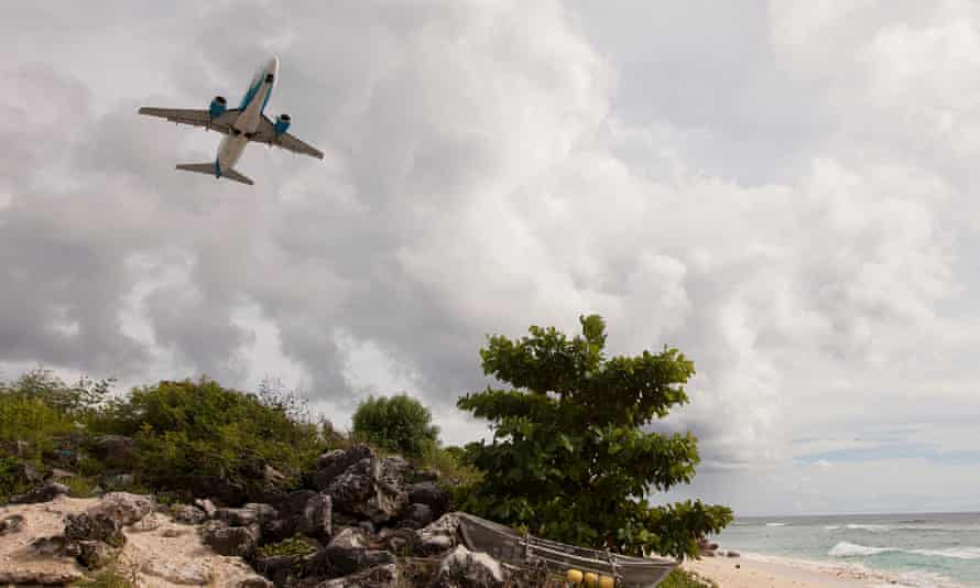 A plane leaves Nauru