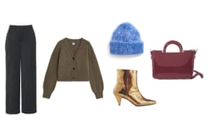 Trousers, £240, Cardigan, £69, Hat, £10, Boots, £239, Bag, £19.99