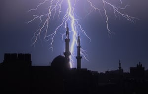 Rafah, GazaLightning lights up the sky during a storm