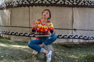 Baktygul Rakymbaeva, 16, one of few women or girls who can recite the Epic of Manas, a poem dating back to the 18th century