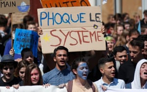 Students take part in a demonstration against climate change in Montpellier, southern France