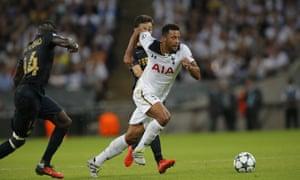 Tottenham's Moussa Dembélé in action at Wembley.