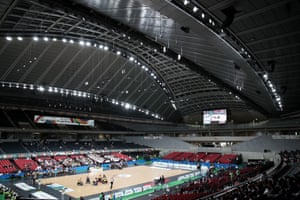 A World Wheelchair Rugby Challenge match taking place inside the Tokyo Metropolitan Gymnasium