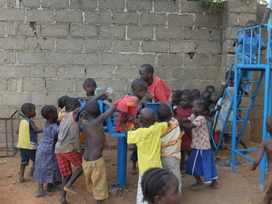 Children playing in the compound of St Theresa's Cathedral.