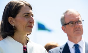 NSW premier Gladys Berejiklian with the Labor opposition leader Michael Daley.