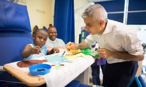 Sadiq Khan with patients at a children's hospital in London:
