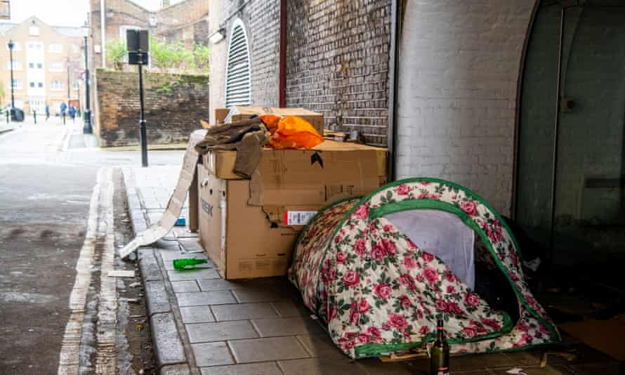 A tent in a south London sidestreet.