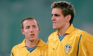 Lee Bowyer (left) and Jonathan Woodgate in December 2000, playing for Leeds in a Champions League win at Lazio.
