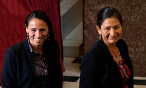 Sharice Davids (left) and Deb Haaland, pictured in September 2019