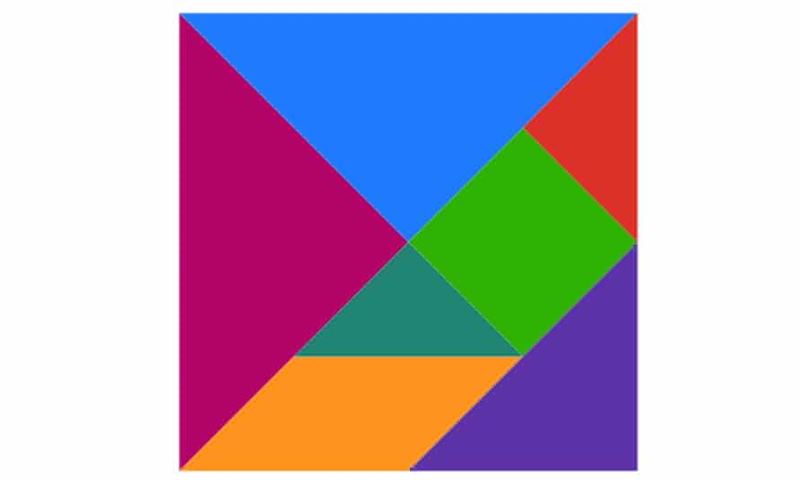 Tangram pieces in colour arranged to form a square.
