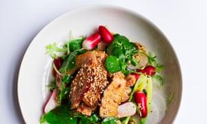Grilled pork salad Observer Magazine OM Nigel's Midweek Dinner Nigel Slater 30/04/2017