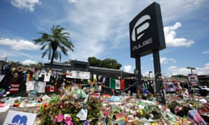 Flowers left outside the Pulse nightclub as a memorial to the 12 June shootings there, where Omar Mateen killed 49 people and wounded 53 others.