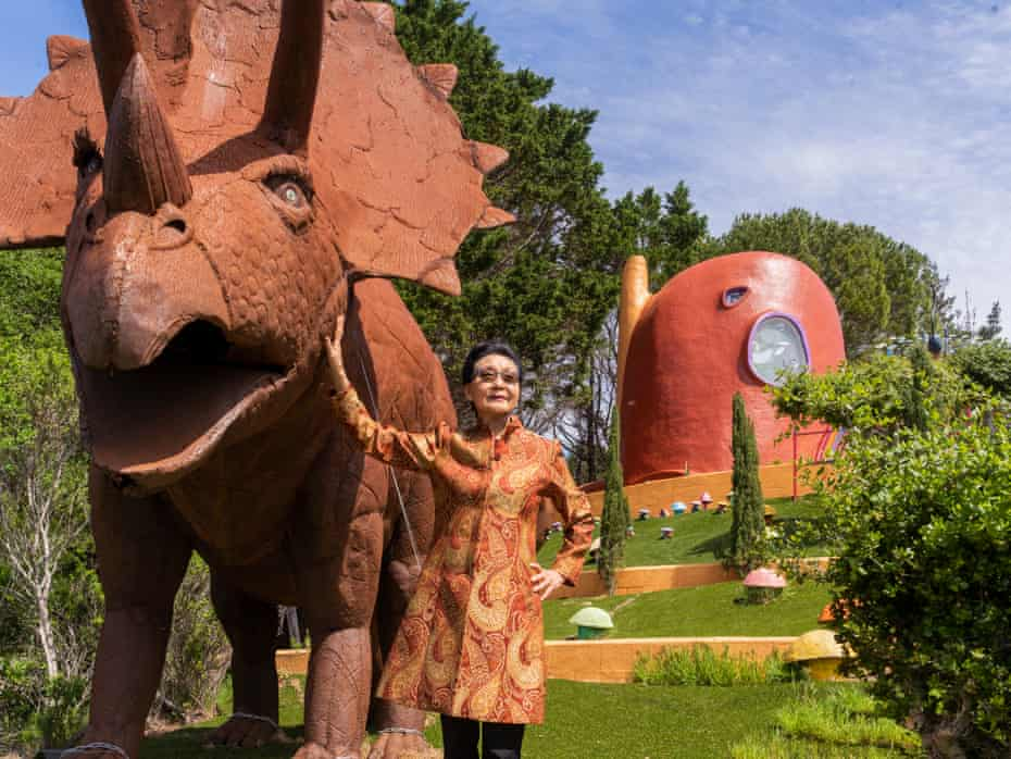 Portraits of the Flintstones House owner Florence Fang in Hillsborough, CA on April 19, 2019.