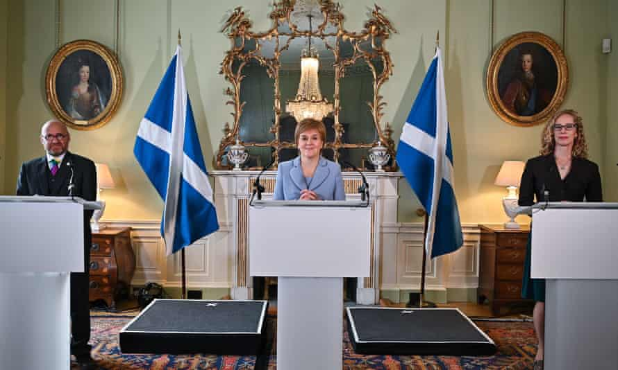 First minister Nicola Sturgeon flanked by Patrick Harvie and Lorna Slater of the Greens at Bute House last week.