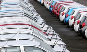 Hundreds of new cars parked up for import and export at Grimsby docks.