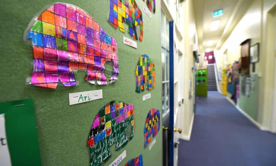 Student's art is seen on a wall at a Primary School in Melbourne's inner north