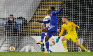 Leicester City's Kelechi Iheanacho scores their third goal.