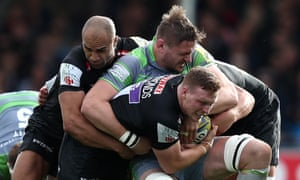 Calum Green, pictured here in green during a match against Exeter, has been accused of biting a Sale player