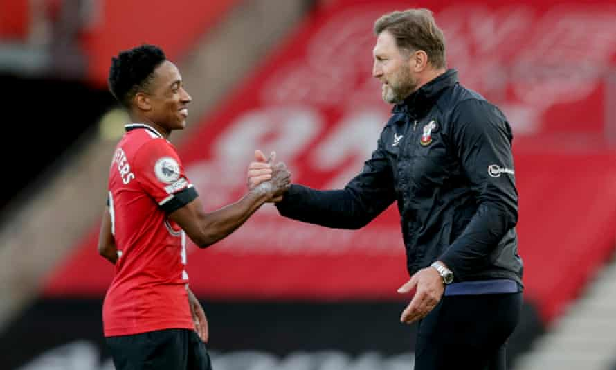 Southampton manager Ralph Hasenhüttl congratulates Kyle Walker-Peters after the Premier League match against Everton in October.