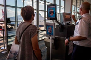 A facial recognition verification system in Dulles international airport, Virginia.