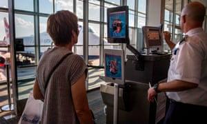 A facial recognition verification system at Washington Dulles airport.