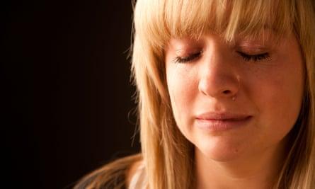 A woman cries