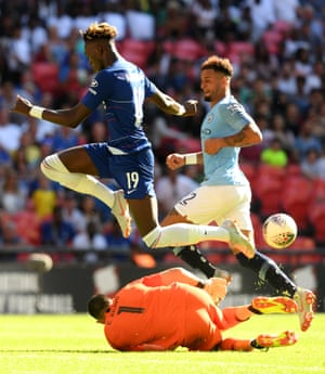 Claudio Bravo of Manchester City challenges Tammy Abraham of Chelsea.