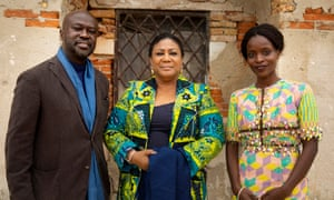 The first lady of Ghana, Rebecca Akufo-Add (centre) with curators David Adjaye and Nana Oforiatta Ayim at the opening of the Ghana pavilion on Wednesday.