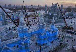 A huge iced gateway takes shape