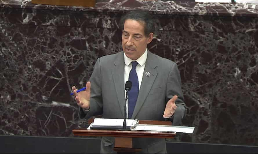 Jamie Raskin speaks during the second impeachment trial of Donald Trump in the Senate at the US Capitol on 10 February.