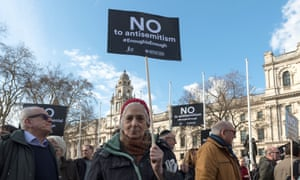 Protest against antisemitism in London in March 2018.