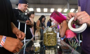 A cannabis farmer's market at the West Coast Collective medical marijuana dispensary in Los Angeles, California in 2014.