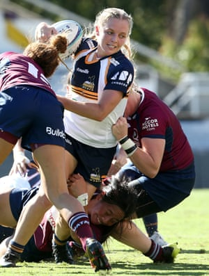 Remi Wilton of the Brumbies is tackled during the Super W Playoff match between Queensland and the Brumbies at Ballymore Stadium.