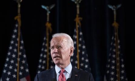 Joe Biden speaks in Wilmington, Delaware, on 12 March.