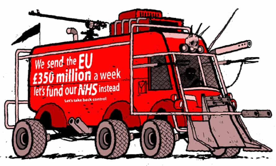 Illustration by David Foldvari of a Mad Max-style Brexit battle bus.