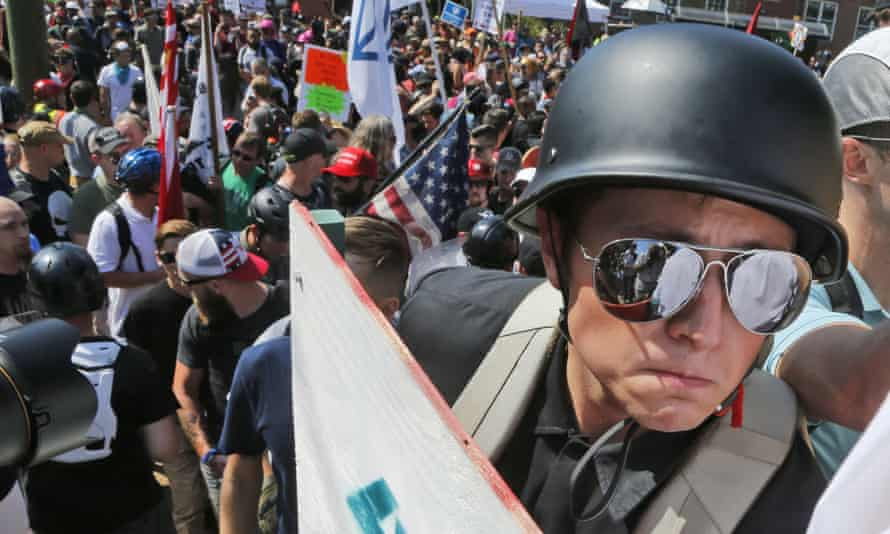 A far-right demonstrator in Charlottesville. For the new wave of national socialists, 'socialism means kicking out immigrants, sequestering black people, and establishing an authoritarian state.'